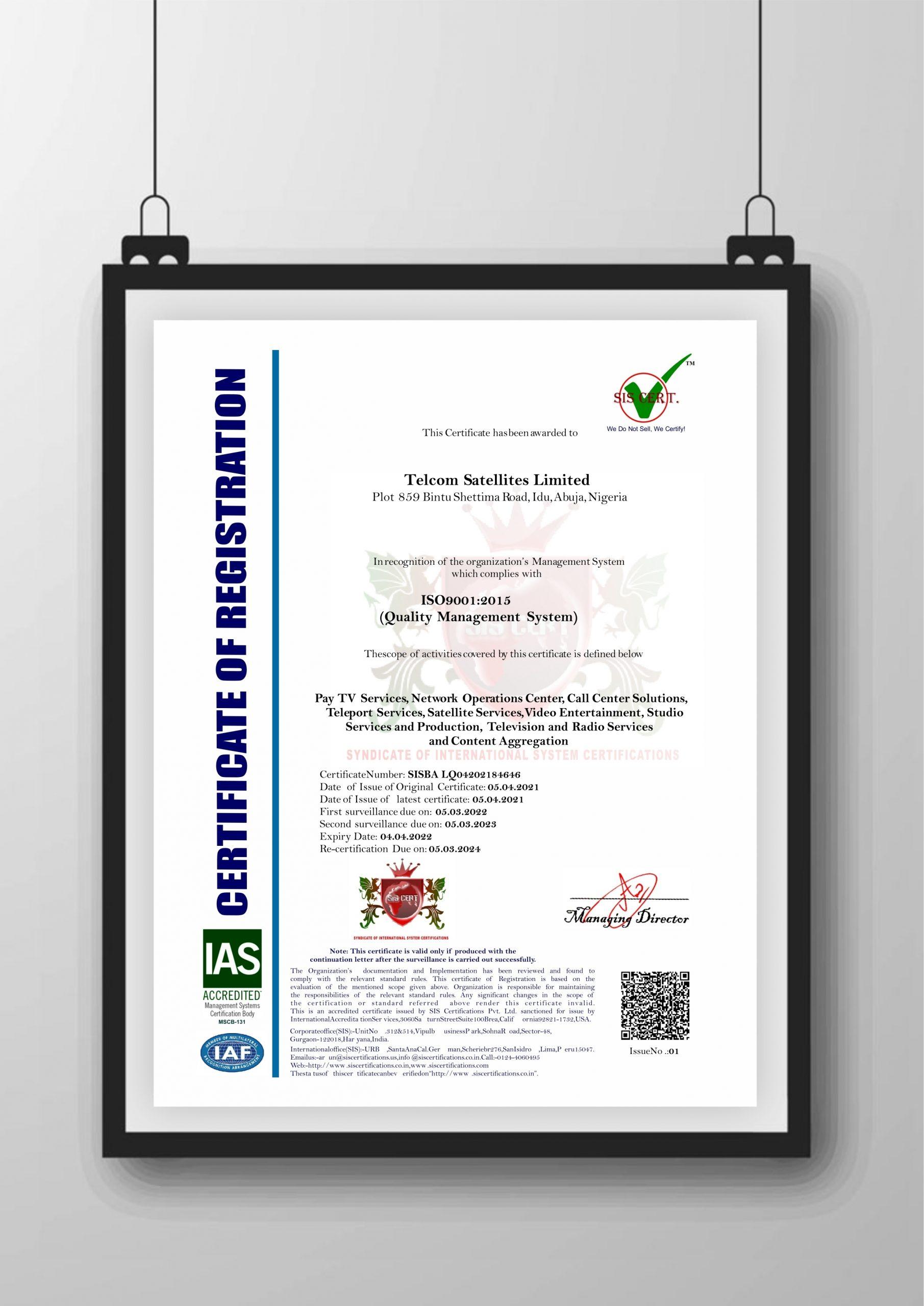 Certificate IAS 1